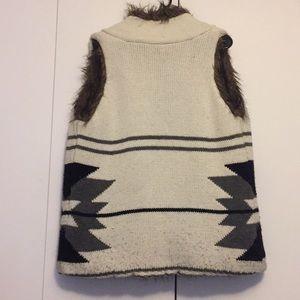 Reversible Aztec and fur vest